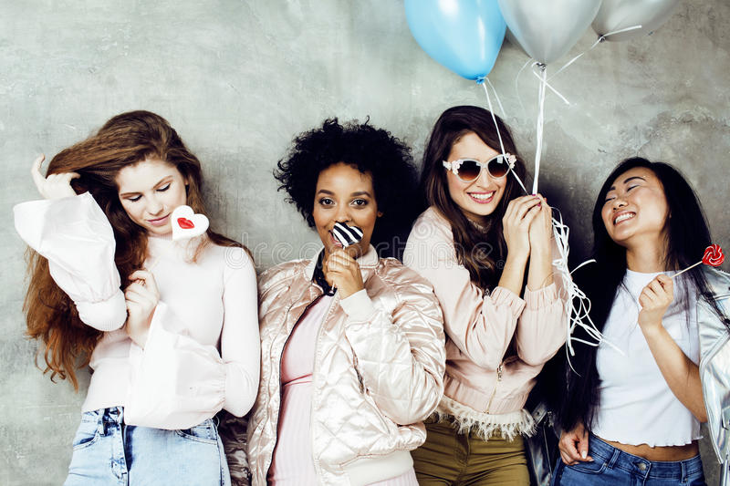 Lifestyle and people concept: young pretty diversity nations wom stock photo