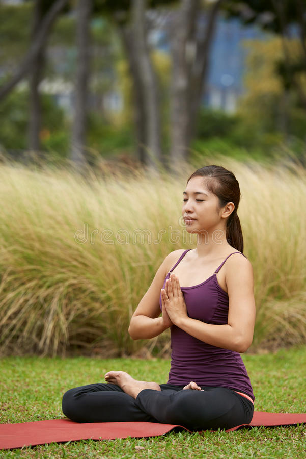 Lifestyle yogi meditating stock photos