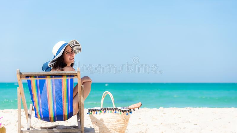 Lifestyle young  woman relax on the summer beach. royalty free stock image