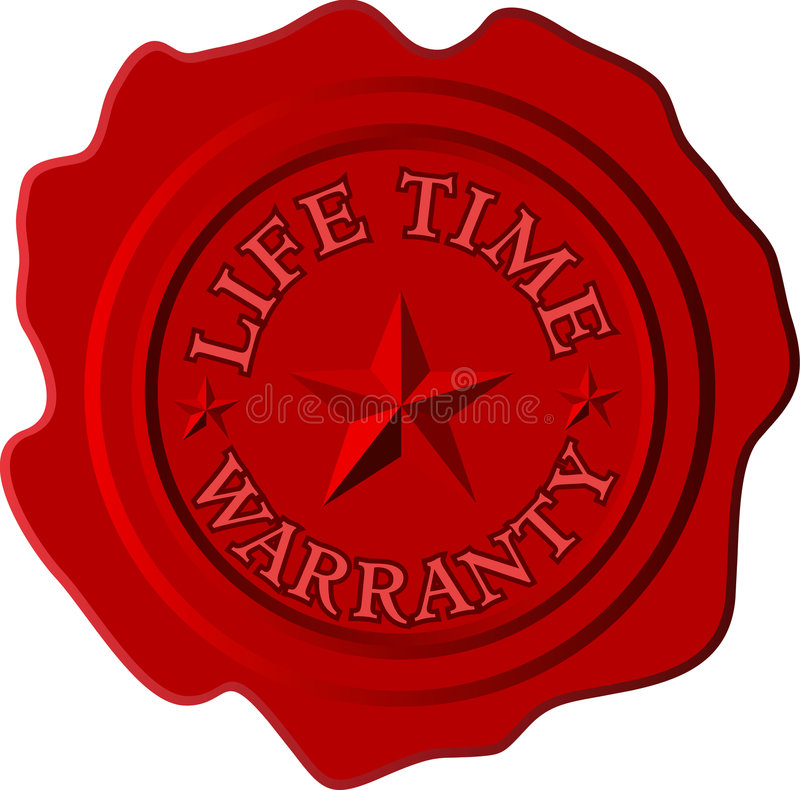 Lifetime. Vector lifetime warranty on the red wax royalty free illustration