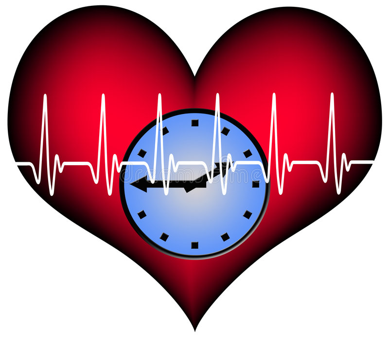 Lifetime. Red plastic heart with a clock inside. Above the heartbeat electrocardiogramm line. A Symbol for our limited lifetime vector illustration