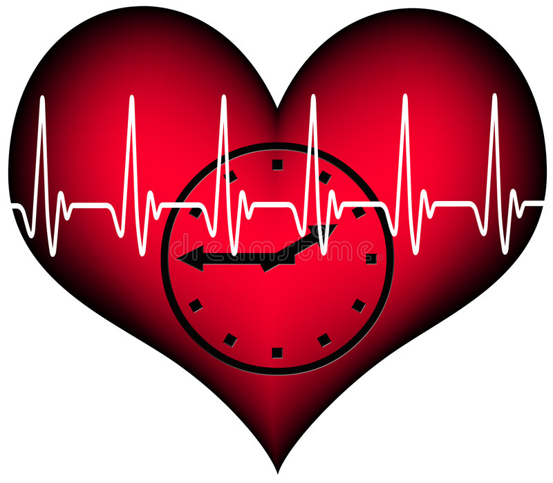 Lifetime. Red plastic heart with a clock inside. Above the heartbeat electrocardiogramm line. A Symbol for our limited lifetime royalty free illustration