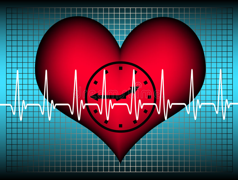 Lifetime. Blue grid with a red plastic heart with a clock inside. Above the heartbeat electrocardiogramm line. A Symbol for our limited lifetime royalty free illustration