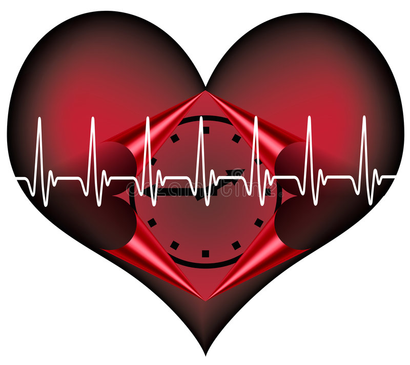 Lifetime. Red plastic heart with a clock inside. A Symbol for our limited lifetime stock illustration
