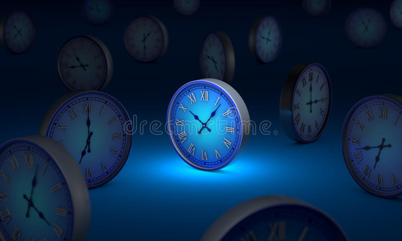 lifetime. Infinity and time. Many blue circular clock. 3D illustration. stock image