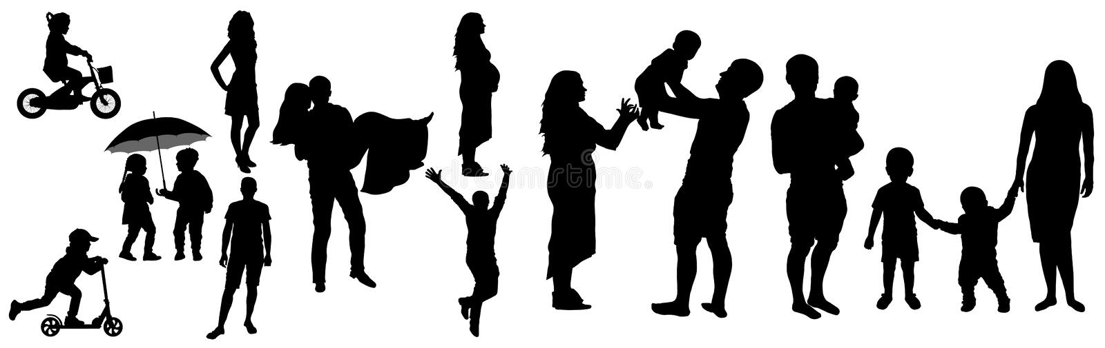 Lifetime of man and woman with childhood to adult family life silhouette, vector illustration. Childhood, appointment, then wedding day, then pregnancy, then stock illustration