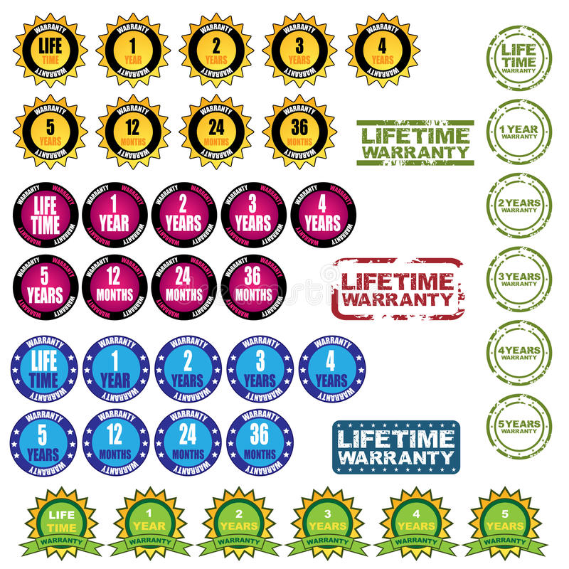 Download Lifetime warranty icons stock vector. Illustration of seals - 22892050