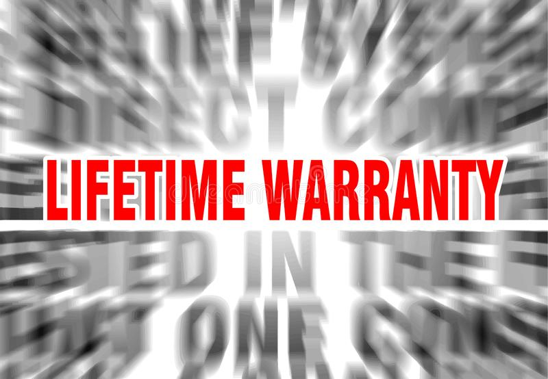 Lifetime warranty. Blurred text with focus on stock illustration