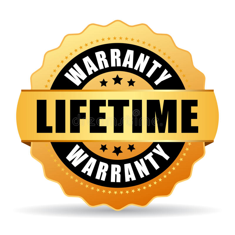 Lifetime warranty gold vector icon vector illustration