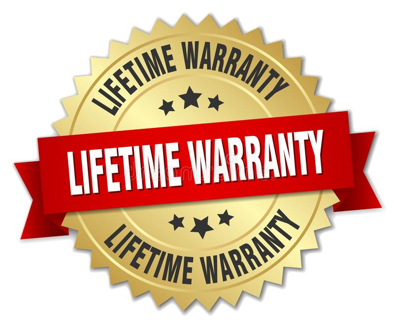 Lifetime warranty. Gold badge with red ribbon royalty free illustration