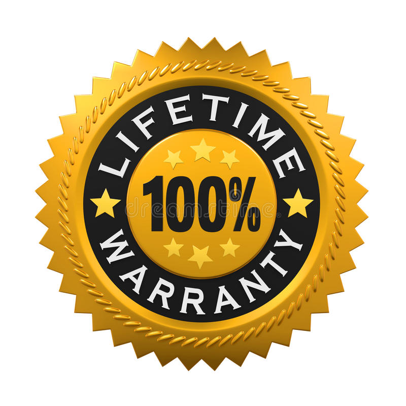 Lifetime Warranty Sign. Isolated on white background. 3D render royalty free illustration