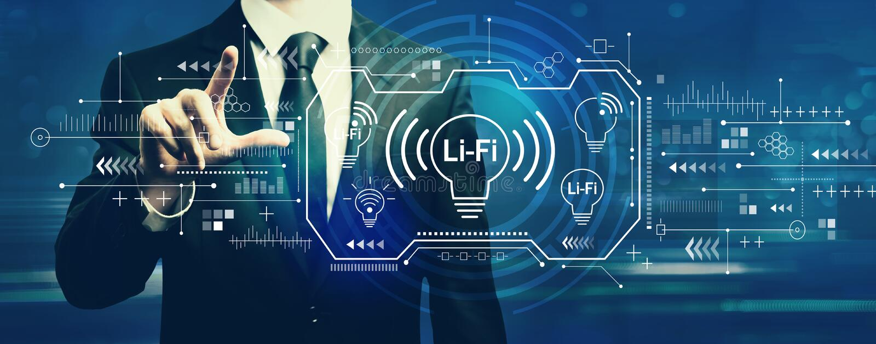 LiFi theme with businessman. On a dark blue background stock illustration
