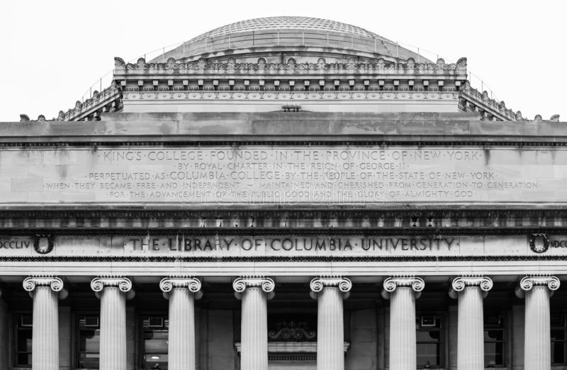 The Lifrary of Columbia University in NYC. Black and white image of the Lifrary of Columbia University in NYC. New York City`s Columbia University, an Ivy League royalty free stock photography