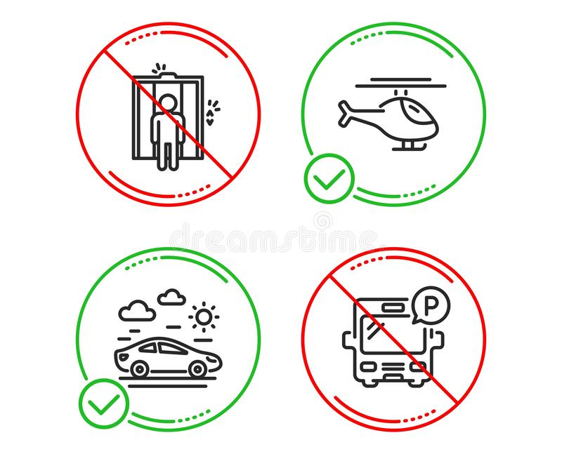 Lift, Autoreis en geplaatste Helikopterpictogrammen Het teken van het busparkeren Lift, Vervoer, Helikopter Openbaar park Vector vector illustratie