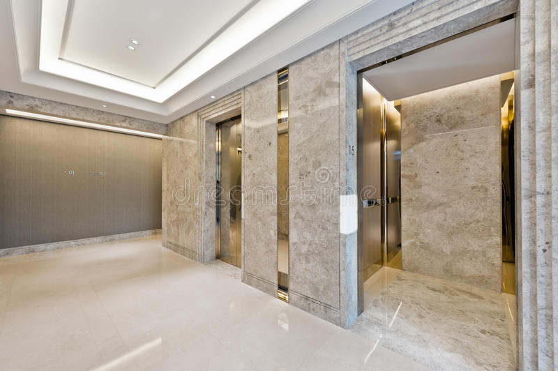 Lift lobby in beautiful marble. Without people royalty free stock images