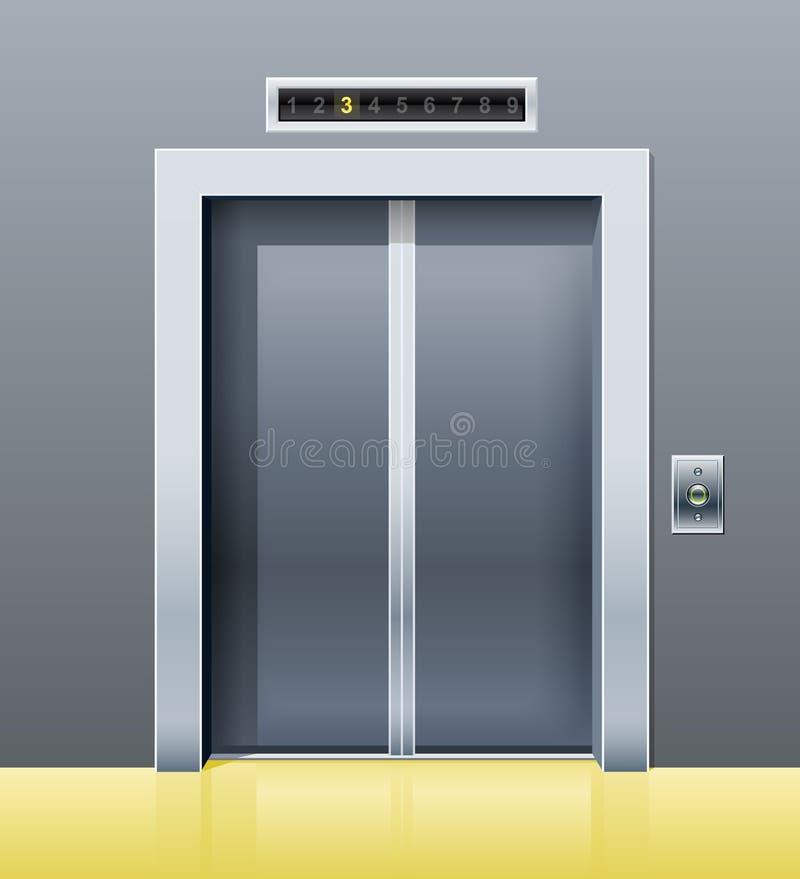 Lift met gesloten deur stock illustratie