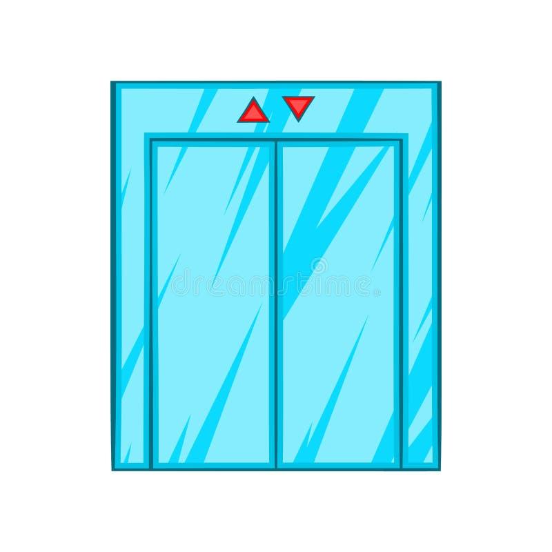 Lift met gesloten deurpictogram, beeldverhaalstijl vector illustratie