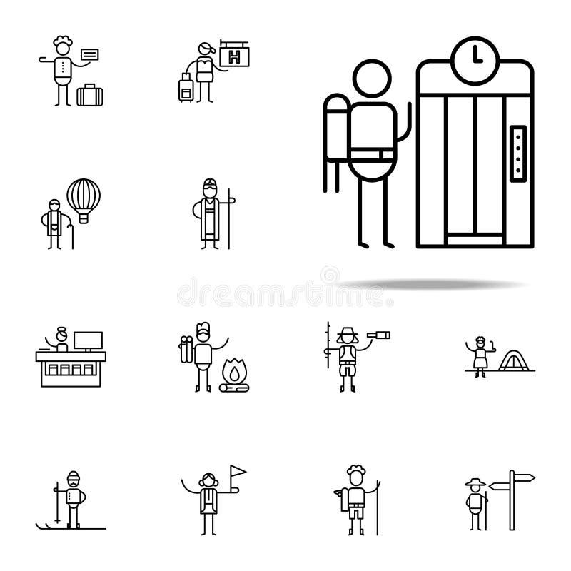 Lift, Reizigerspictogram Voor Web wordt geplaatst dat en het mobiele algemene begrip van reispictogrammen vector illustratie