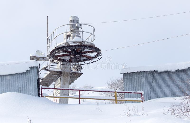 Lift for skiers. In the park in nature stock photos