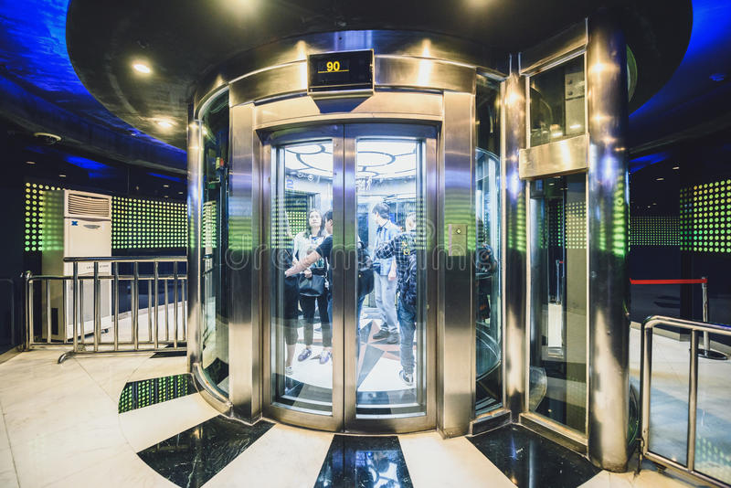 Lift to Oriental Pearl TV Tower observation point. SHANGHAI, CHINA - MAY 07, 2016: Lift to Oriental Pearl TV Tower observation point. With 470 meter it is one stock photos
