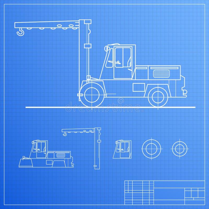 Download Lift truck blueprint stock vector. Illustration of fork - 28874856