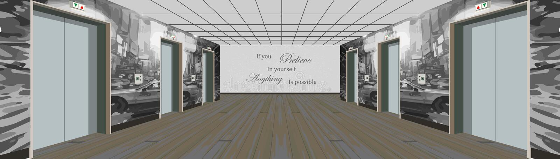 Liftdeuren op de vloer Binnenland van de lange gang Illustratie van een binnenland van een vloer van een flatgebouw vector illustratie