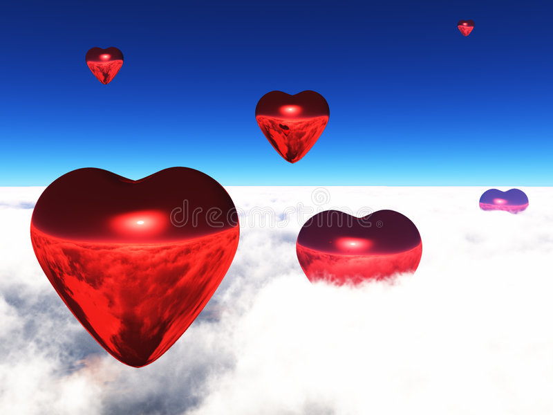 Lifted Hearts. Hearts float upward and onward to lovers everywhere stock illustration