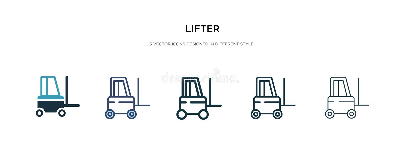 Lifter icon in different style vector illustration. two colored and black lifter vector icons designed in filled, outline, line stock illustration