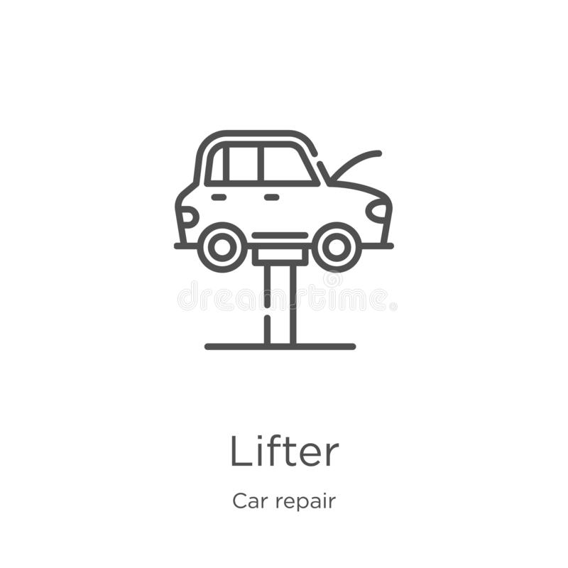 lifter icon vector from car repair collection. Thin line lifter outline icon vector illustration. Outline, thin line lifter icon royalty free illustration