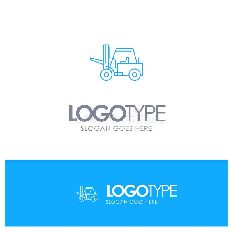 Lifter, Lifting, Truck, Transport Blue outLine Logo with place for tagline royalty free illustration