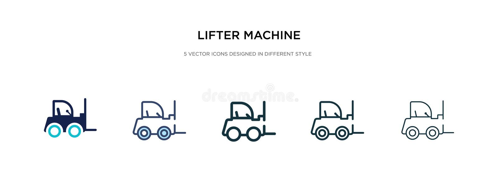 Lifter machine icon in different style vector illustration. two colored and black lifter machine vector icons designed in filled, royalty free illustration