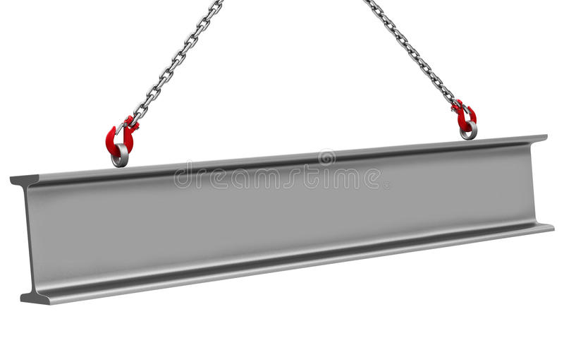 Lifting a beam. 3d generated picture of a beam and two crane hooks vector illustration