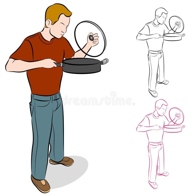 Lifting Cooking Pan Lid vector illustration