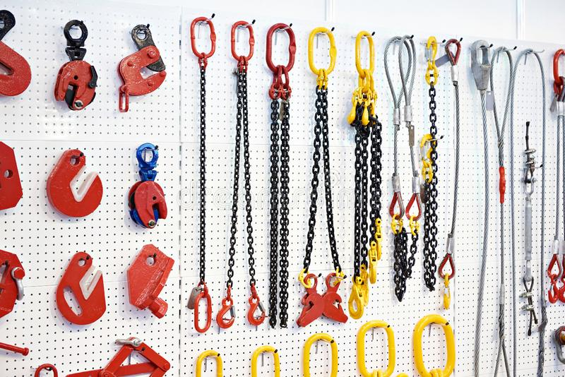 Lifting equipment and chains royalty free stock photos