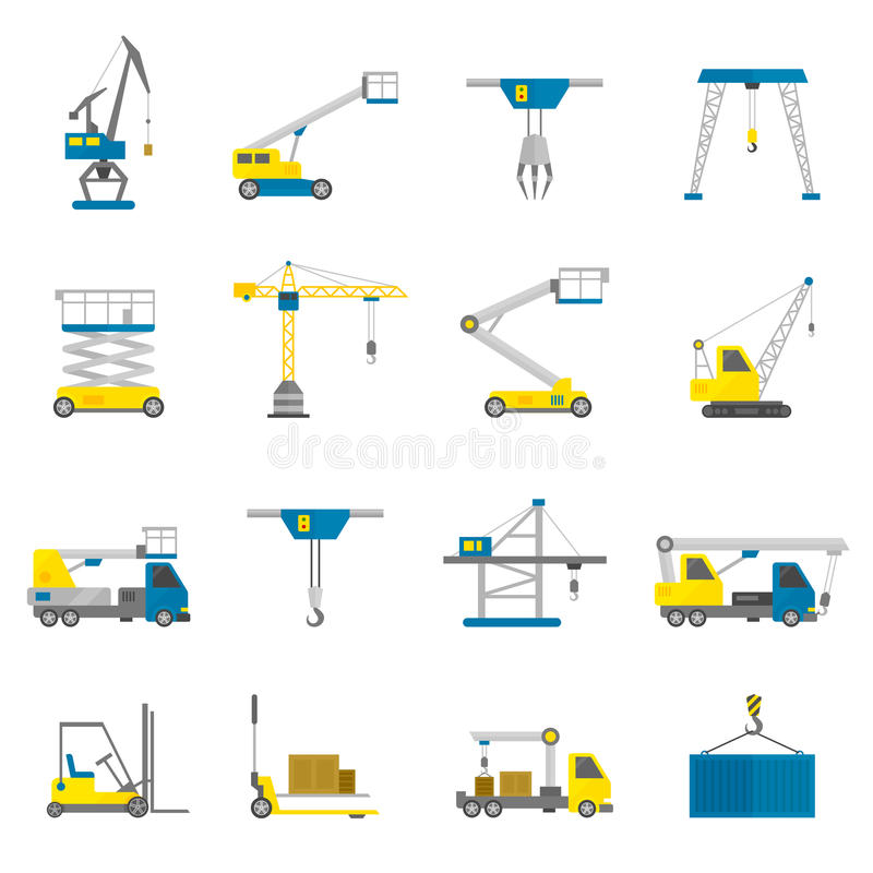 Lifting Equipment Flat Icon Set. Lifting equipment cargo transportation and construction machinery flat icon set isolated vector illustration vector illustration