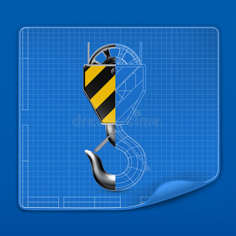 Download Lifting Hook Drawing Blueprint Stock Vector - Illustration: 25535301
