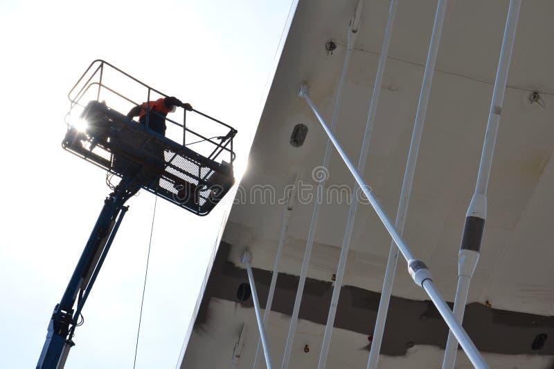 Lifting platform. On the bridge construction in Prague, Czech republic stock photography