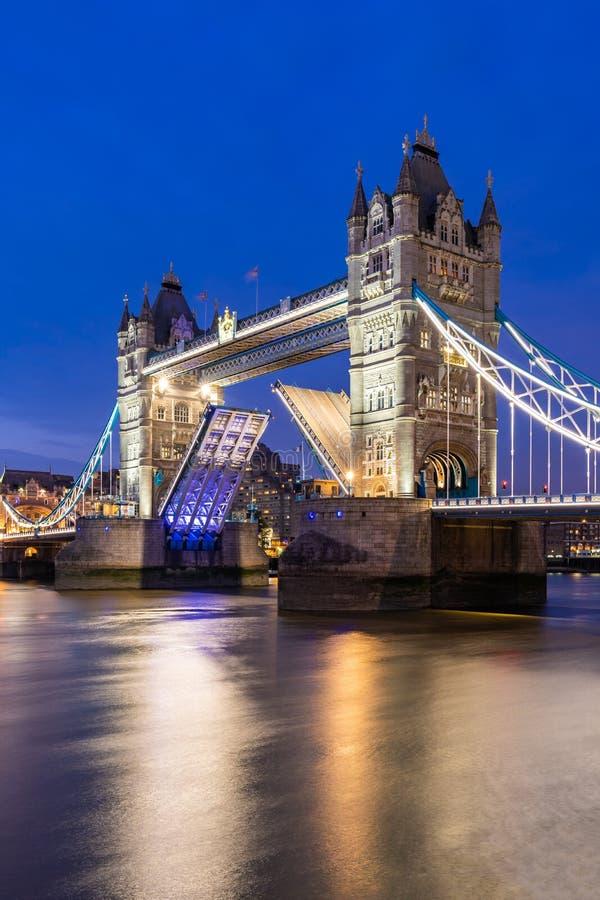Lifting up London Tower Bridge. London Tower Bridge lifting up at Sunset dusk, London UK royalty free stock photos