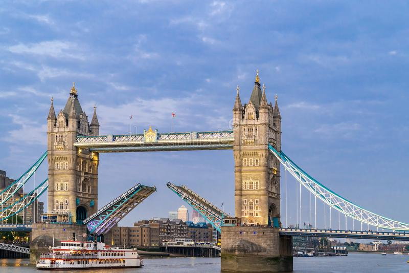 Lifting up London Tower Bridge. London Tower Bridge lifting up at Sunset dusk, London UK royalty free stock photography