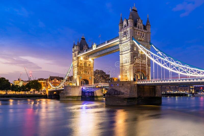 Lifting up London Tower Bridge. London Tower Bridge lifting up at Sunset dusk, London UK stock photos