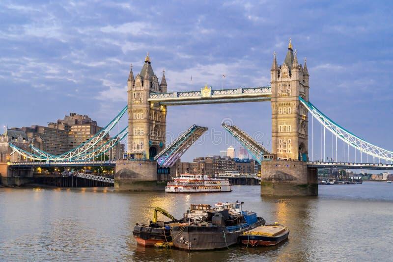 Lifting up London Tower Bridge. London Tower Bridge lifting up at Sunset dusk, London UK stock images