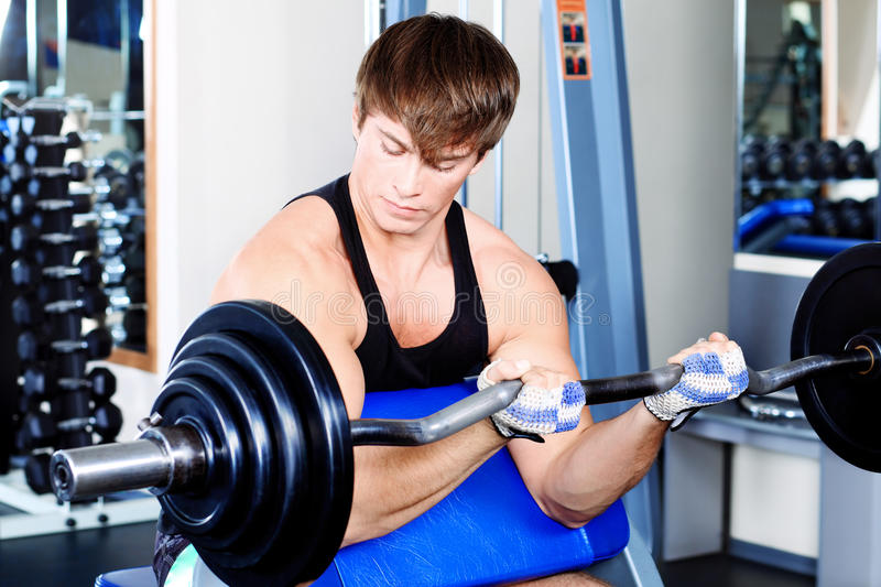 Lifting weight stock image