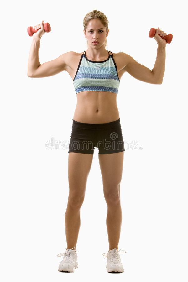 Lifting weights stock photo