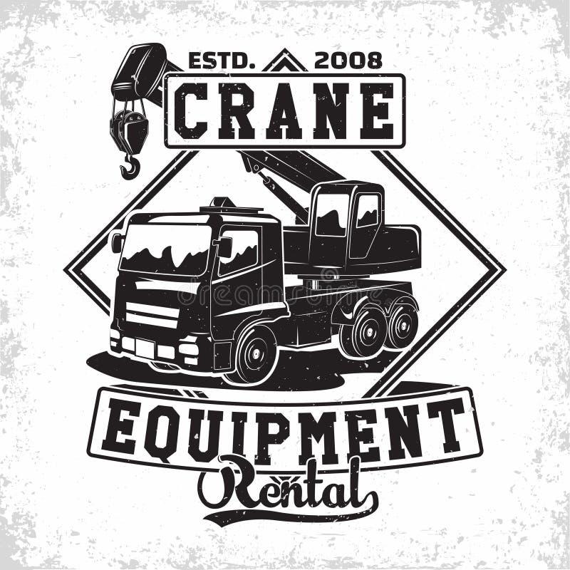 Crane emblem design. Lifting work logo design, emblem of crane machine rental organisation print stamps, constructing equipment, Heavy crane machine typographyv royalty free illustration