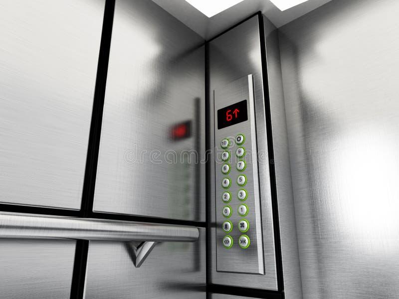 Liftpaneel met knopen en LCD vertoning 3D Illustratie royalty-vrije illustratie