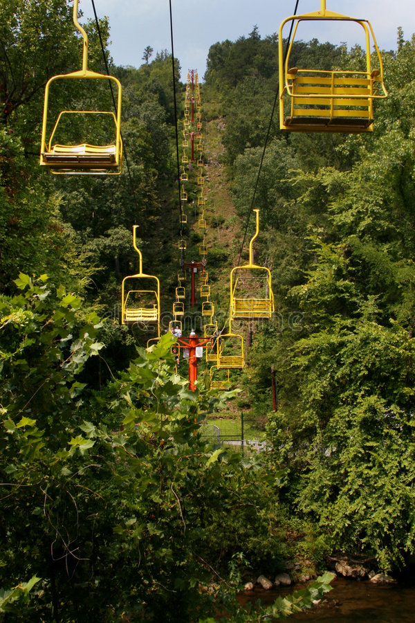 Download Lifts in Gatlinburg stock image. Image of yellow, trees - 6799455