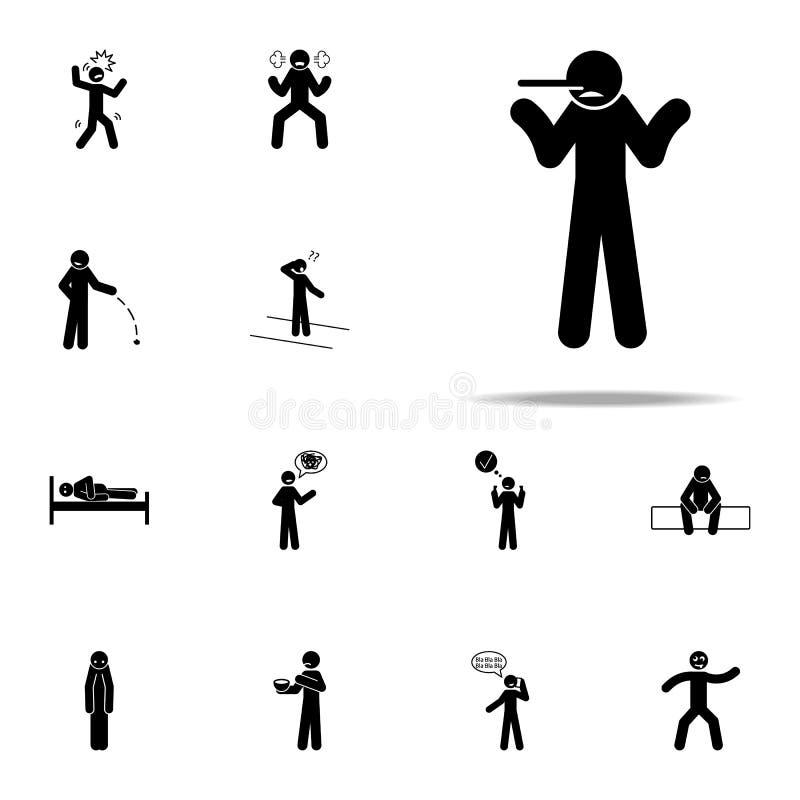 lig, snak neuspictogram Het negatieve die voor Web wordt geplaatst en mobiele algemene begrip van Karakterpictogrammen vector illustratie