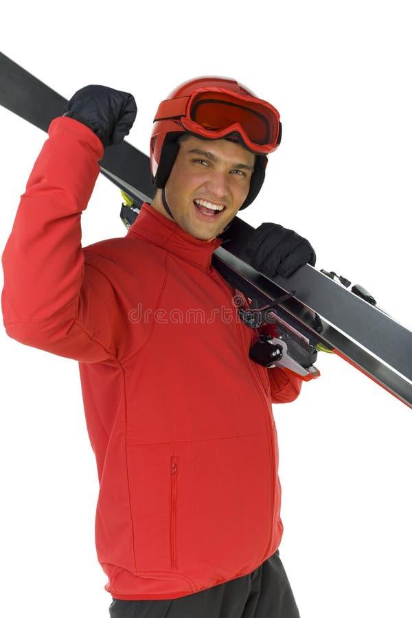 Ligação em ponte de esqui com seus esquis imagens de stock royalty free