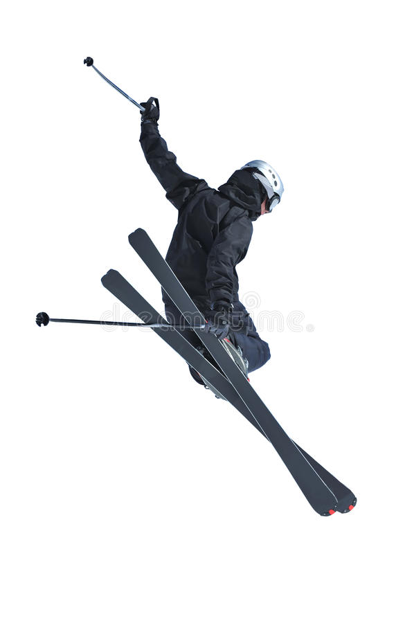 Ligação em ponte de esqui no preto fotos de stock royalty free
