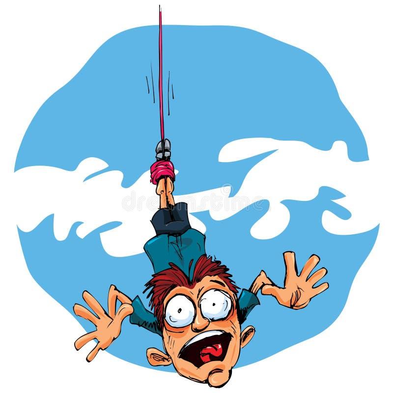 Ligação em ponte do tirante com mola dos desenhos animados que cai no medo ilustração do vetor